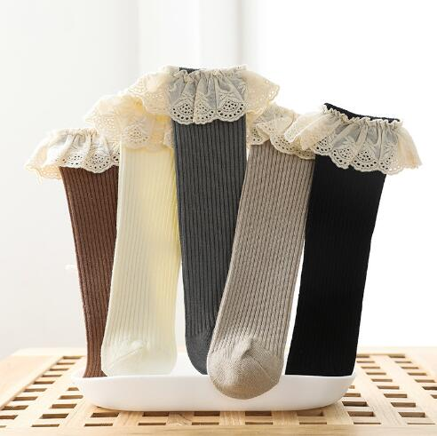 0-8 Y Autumn new children's socks double needle loose mouth baby lace girls tube socks combed cotton children's sock 3