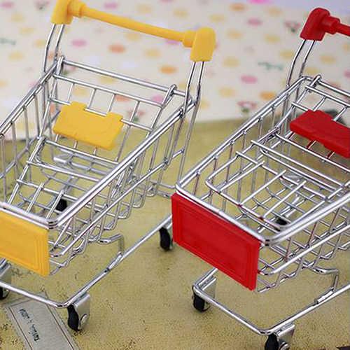 طفل التظاهر لعبة سوبر ماركت اليد عربة صغيرة عربة التسوق سطح المكتب الديكور تخزين اللعب GiftsDollhouse أثاث لعبة