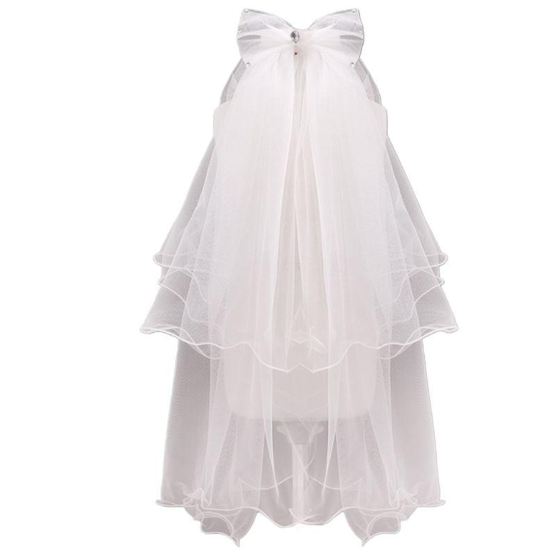 Handmade Double Layer Flower Girls Wedding Veils Cute Rhinestone Bowknot Costume