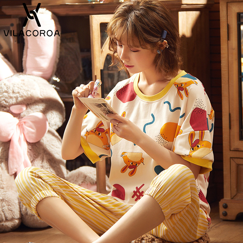Cotton Home Pyjamas Women 2 Piece Set Sleepwear Round Neck Short Sleeve Print Tops Shorts Two-piece Suit Pyjamas Women Sleepwear