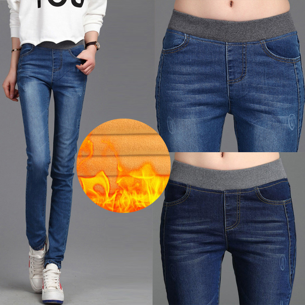Warm Winter Jeans For Women With Fleece High Waist Skinny Female Denim Women's Winter Jeans Plus Size Stretch Velvet Pants#J30