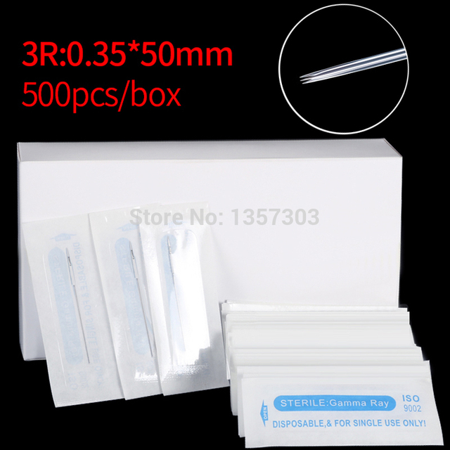 شحن مجاني 500 قطعة/صندوق الوشم 3R الإبر ل الحاجب الدائم والشفاه مونسو ماكياج آلة 0.3 مللي متر * 50 مللي متر