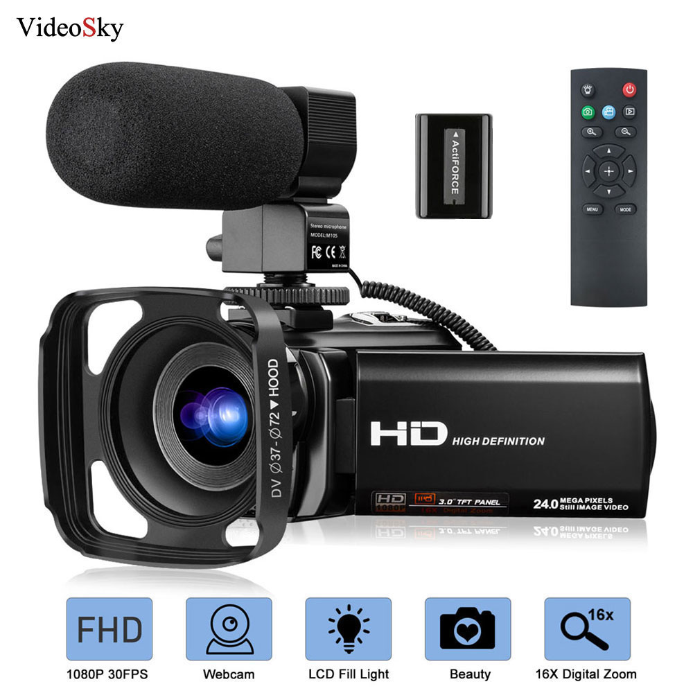Camcorder Microphone Video-Camera Vlogging Zoom Digital 1080P with FHD 30FPS 24MP 16X