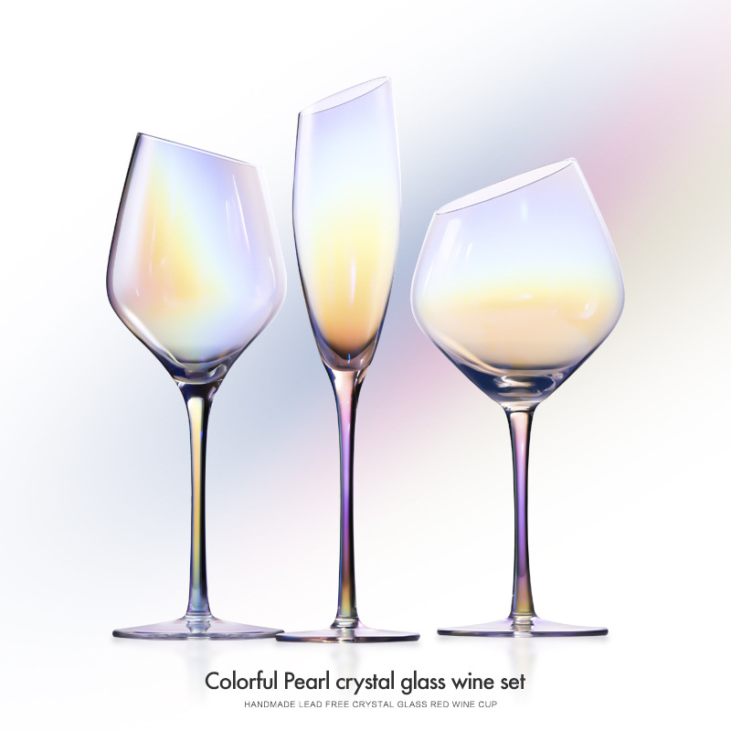 Electroplating color lead-free crystal glass red wine glass champagne glass, one-piece wine glass goblet home red wine glass set