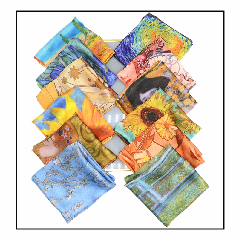 70cm*70cm Women Scarf  Luxury  Van Gogh Fashion Head Scarf Silk Scarf  Women Shawls Girl  Wraps Hair Tie  Bandana Scarf Luxury
