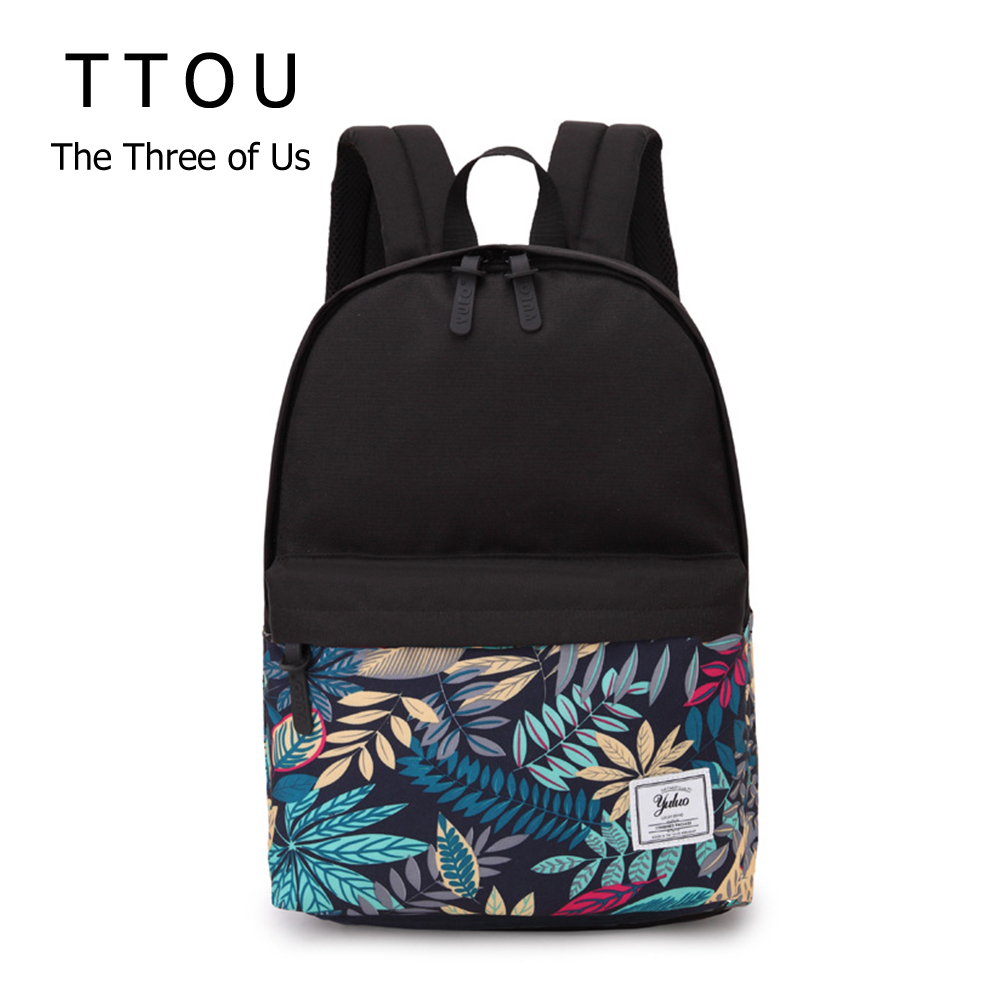 TTOU Women High Capacity Fashion Printed Backpack Canvas School Backpack For Girls Knapsack Bookbag Trip Laptop Back Bag