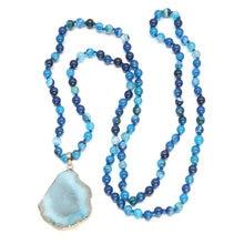Fashion Necklace for Women 2018 Statement Bohemian Tribal Style Jewelry Semi-Gemstones Pendant Stone Choker Lady Long Necklace недорого
