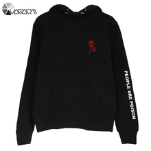 Autumn Winter People Are Poison Hoodies Fleece Women Embroidery  Rose Pullover Casual Plus Size Sweatshirt Buzos Mujer Con Capuc