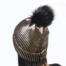 2019 Ear Warm Mink Fox Fur Ball Thick Gilding Women Fall Winter Skullies Beanies Hat Cap Elastic Fashion Accessories-XMC-W6