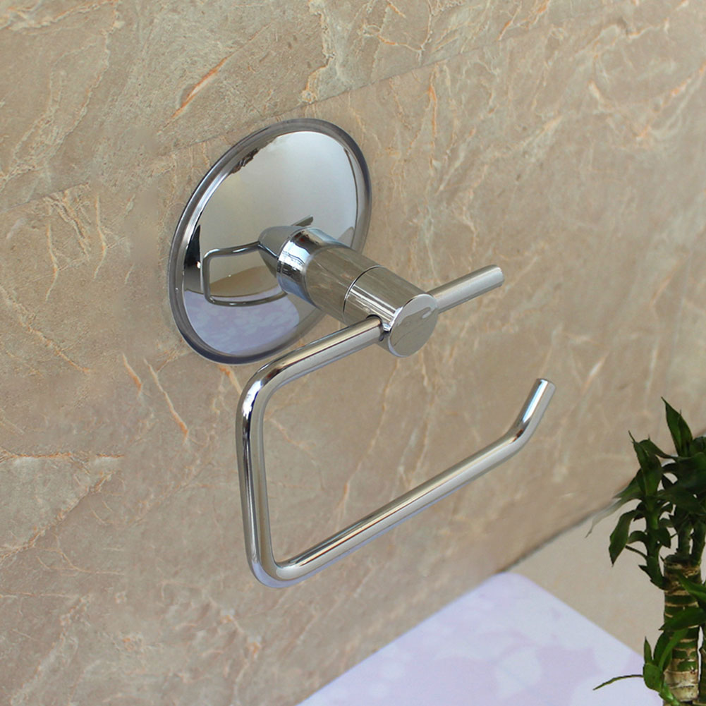 Suction Cup Rack Toilet No Drilling Silver Stainless Steel Wall Mount Bathroom Roll Paper Holder Kitchen Rustproof Hotel Durable 4