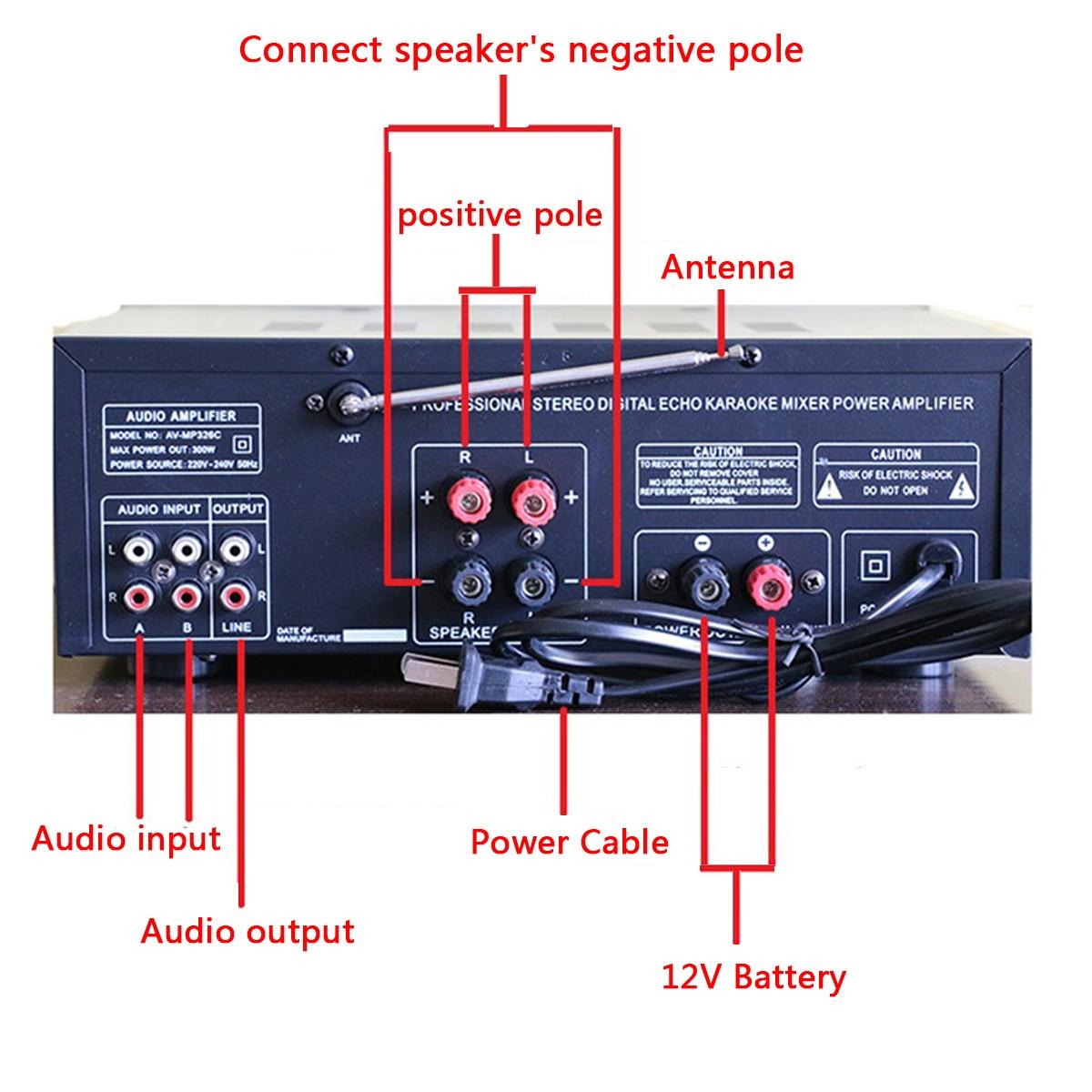 2000W 110 V/220 V 2 canaux bluetooth maison stéréo puissance amplificateur Audio USB SD amplificateurs à distance amplificateur de Subwoofer - 5