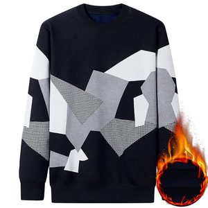 Image 3 - NIGRITY Autumn Winter New Mens Casual Knit Sweaters Plus Velvet Sweater Flannel New Pullovers Spandex O Neck Male Brand Clothes