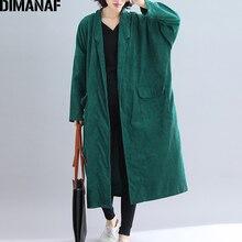 DIMANAF kobiety kurtki Plus Size długi płaszcz sztruks jesień zima duży rozmiar Cardigan ubrania damskie luźne ponadgabarytowych odzieży 2021