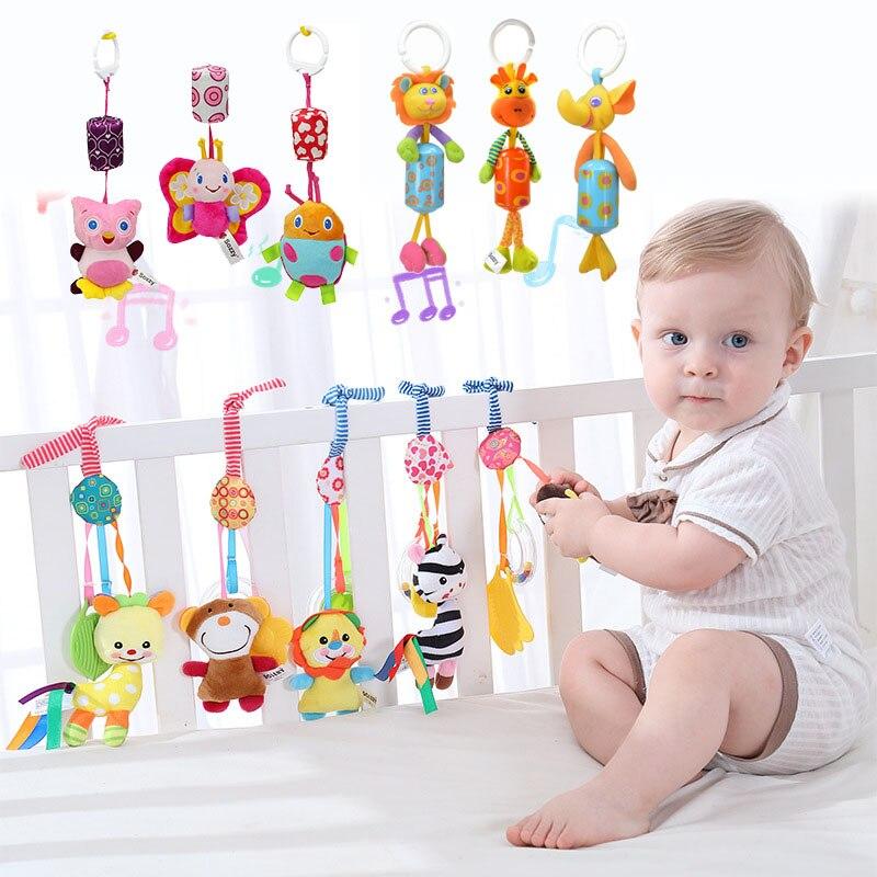 От 0 до 12 месяцев детская кроватка Мобильная кремния с Прорезыватель для зубов в форме колокольчика животных для игрушечная коляска