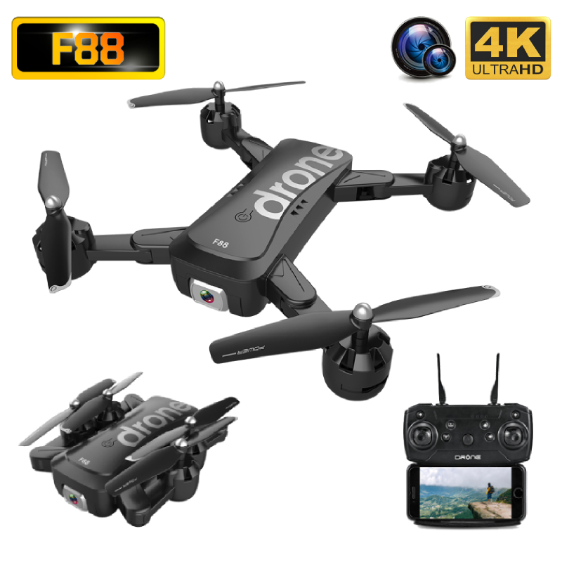 F88 Drone 4K HD Wide Angle Dual Camera WIFI FPV Foldable Optical Flow Selfie Drones Professional 18Mins Follow Me RC Quadcopter