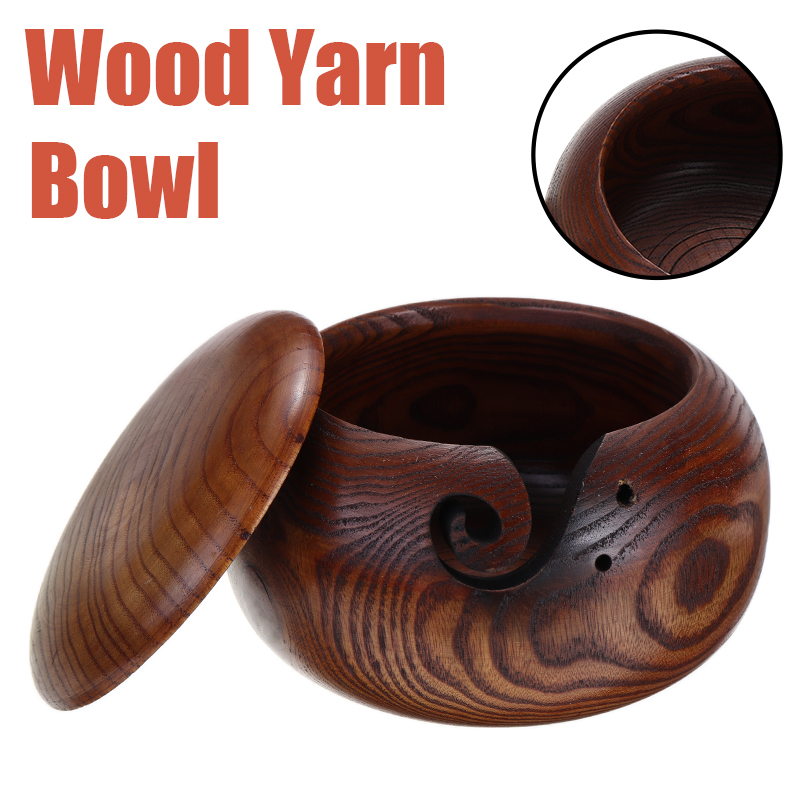 Wood Yarn Bowl 10-16cm Bamboo Knitting Crochet Storage Bowls For Knitting Needle Storage Holder DIY Handmade Knitting Supplies