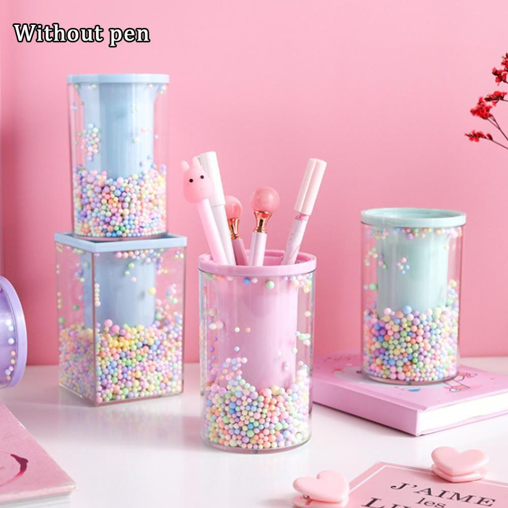 Cute Pen Holder Office Organizer Cosmetic Square Pencil Pen Stand Holders Stationery Container Office School Supplies
