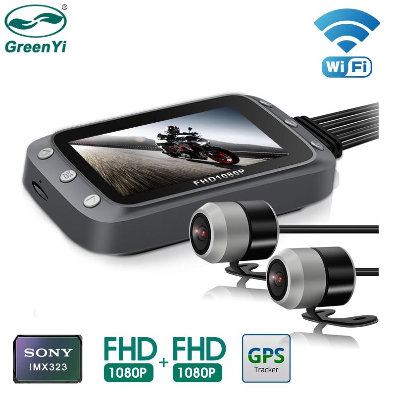 GreenYi Wi-Fi Видеорегистраторы для мотоциклов Dash Cam 1080P + 1080P Full HD спереди и вид сзади Водонепроницаемый мотоцикл Камера GPS регистратор Регистрато...