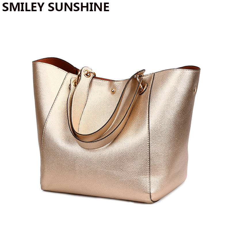 2019 Gold Women Genuine Leather Handbags High Quality Big Shoulder Bags Female Handbag Large Ladies Hand Bag Hangbags Vintage