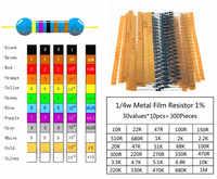 300 Pcs/locs 30 Valori di resistenza Pacchetto 1/4w Resistenza 1% Metallo Film resistor Resistenza Assortimento Kit set di 30 generi Ogni 10Pcs