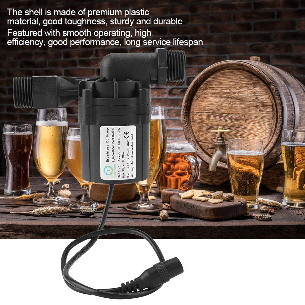 Electric Brewing Transfer Beer Pump Home Breweries 18W Fluid Anti Rust Brushless Wine Making Durable Water Circulation DC 12V