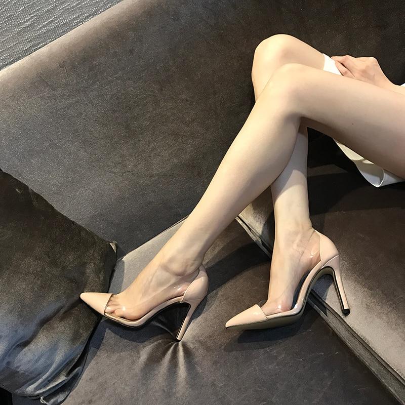 high heel women's Transparent high heels Sexy shallow shoes