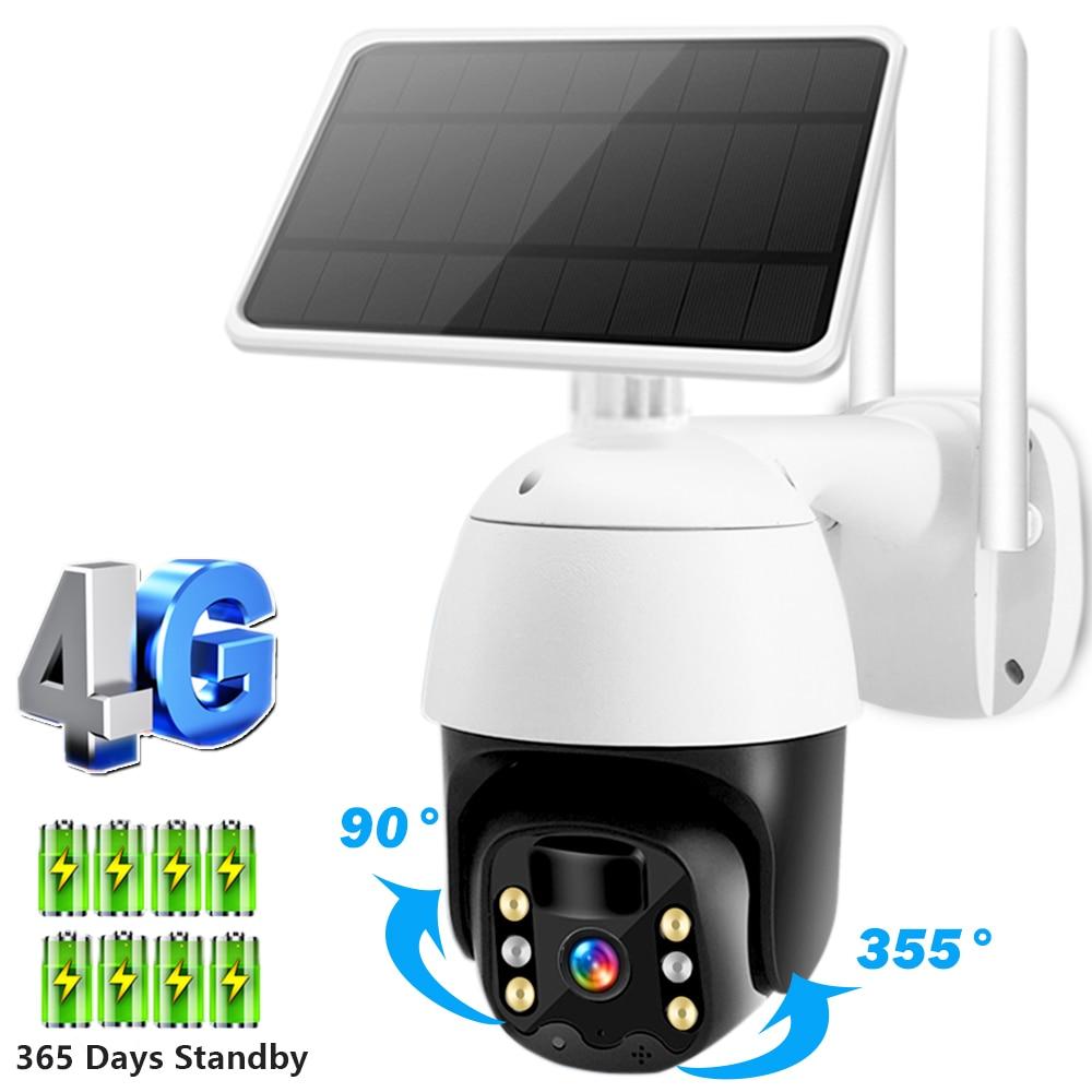 4G sim-карта камера 1080P HD солнечная панель PTZ наружная CCTV IP Камера PIR сигнализация HI3518E H.265 цвет ночное видение Всепогодный