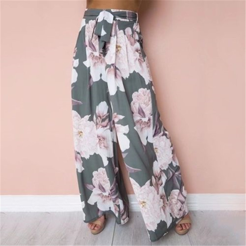 Summer Sweet Holiday Vacation Lady Women Floral Casual Loose Fashion Beach Boho Harem Wide Leg Long Pants Palazzo Trousers