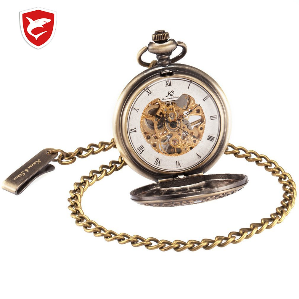 Retro KS Mechanical Self Wind Skeleton Alloy Case Copper Key Pendant Roman Analog Fob Chain Luxury Pocket Watch Jewelry / KSP044
