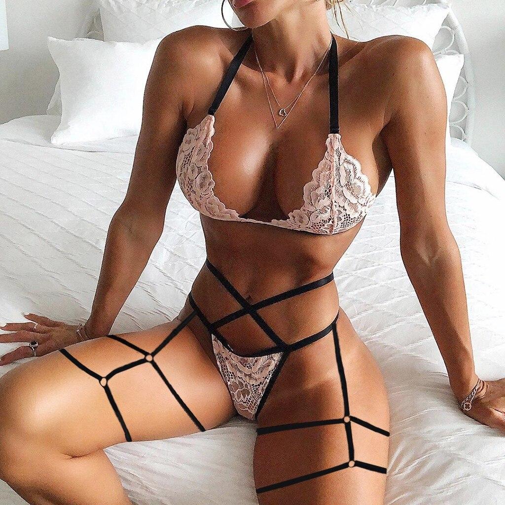 Сексуальное нижнее белье Porno с кружевным цветком, беспроводной бандажный бюстгальтер, стринги, Женский комплект нижнего белья, Lenceria, эротич...