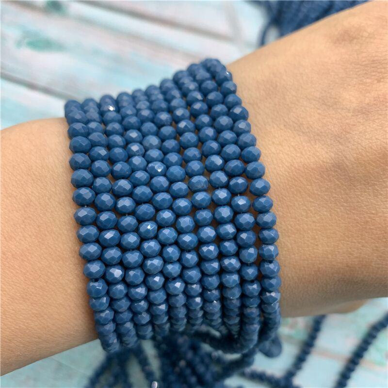 40 цветов 1 нить 2X3 мм/3X4 мм/4X6 мм хрустальные бусины rondelle хрустальные бусины стеклянные бусины для самостоятельного изготовления ювелирных изделий - Цвет: Navy blue