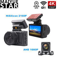 Huawei Hisilicon 4K UHD 2160P Car DVR Dual Lens Camera GPS WiFi AHD1080P Video Registrar Super Night Vision Magnetic Stand