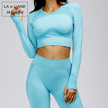 Seamless Yoga Top Long Sleeve Workout Tops For Women Fitness Gym Crop Top Athletic Gym Shirt Women Sportswear Active Wear 2020