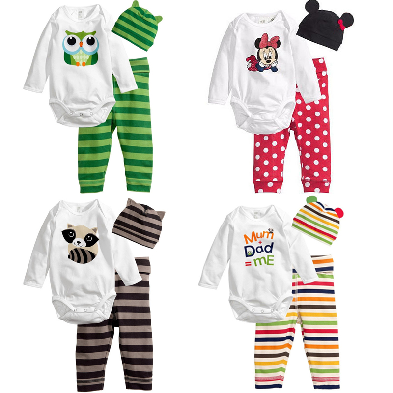 Baby Boy Girl Animal Minnie Mickey   Romper   Long Sleeve   Romper   Hat Pants Clothing Set Babykleding Body Suits Newborn Clothes