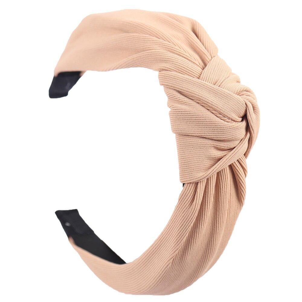 Couleur unie noeud bandeaux pour femmes Simple tissu filles bandeau femmes cheveux accessoires large côté bandeau 13