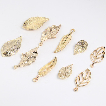 10pcs Gold Color Metal Fligree Leaf Charms Necklace Alloy Pendants Accessories for DIY Jewelry Making Bracelets Charms Findings 10pcs tree branch leaf metal charms pendants brooch necklaces bracelets charms findings diy for jewelry making craft wholesale