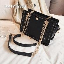 Luxury Rivet Handbag Women Bag Designer Brand Metal Chain Tote Bags Casual PU Leather Crossbody Bag graceful pu leather and metal design tote bag for women