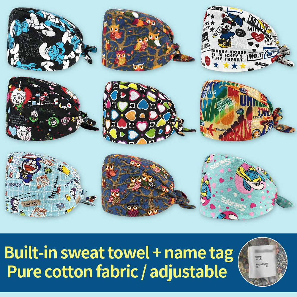 Pet Hospital Medical Doctor Nurse Work Hats Pharmacist Operating Room Hat With Cotton Sweatband Surgical Caps For Men And Women
