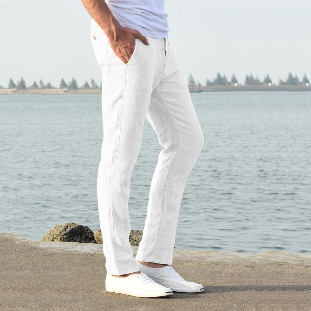 Hef023e5b692042b1828607c81c4d25675 Feitong Fashion Cotton Linen Pants Men Casual Work Solid White Elastic Waist Streetwear Long Pants Trousers