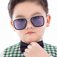 cute rectangle Tony Stark children sunglasses brand 2020 kids girls boys toddler sun glasses oculos de sol infantil