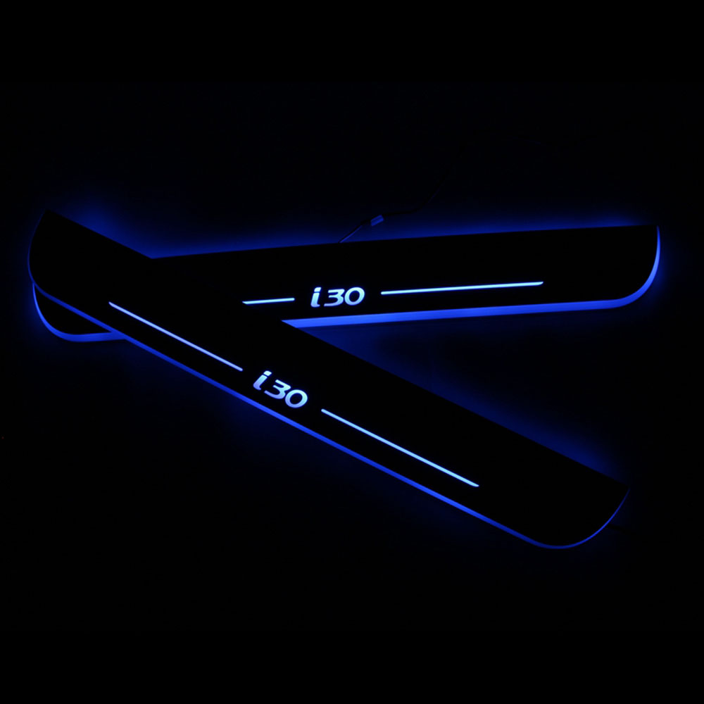 For Hyundai I30 2007-2017 2018 2019 Waterproof Moving LED Welcome Pedal Car Scuff Plate Pedal Door Sill Pathway Light(China)