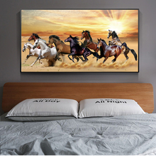 Running Horses Canvas Paintings For Bed Room Wall Art Prints Sunset Landscape Animals Posters And Prints Home Wall Decoration sunset horses pattern unframed decorative canvas paintings