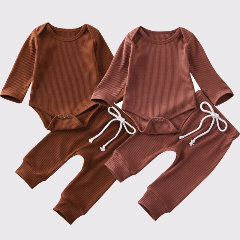 Toddler Newborn Baby Boys Clothes Set Autumn Round Neck Long Sleeve Bodysuit Top Pant Solid Outfit Cotton Cute Boy Clothing 2PCs