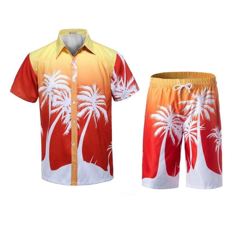 New Men's Set Summer Causal Beach Suits Short Sleeve Shorts Sweatsuit Swim Pants Plus Size Quick-dry Male Workout Wear 4XL 5