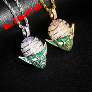 Image 2 - TOPGRILLZ Dragon Ball Character Piccolo Pendant Necklace Iced Out CZ Hip Hop Gold Silver Color Men Women Charms Chain Jewelry