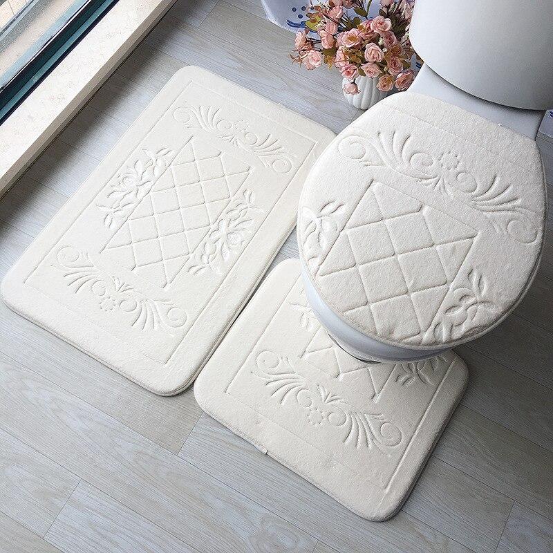 Bathroom Carpet Set 3D Embossed Bathroom Floor Rug Flannel Toilet Mat With Lid Cover 3-piece/set Non-Slip U-shape Bath Mat Set
