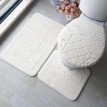 Conjunto de alfombras de baño 3D alfombra de suelo de baño en relieve, Alfombra de franela con tapa, Juego de 3 piezas, Alfombra de baño con forma de U antideslizante