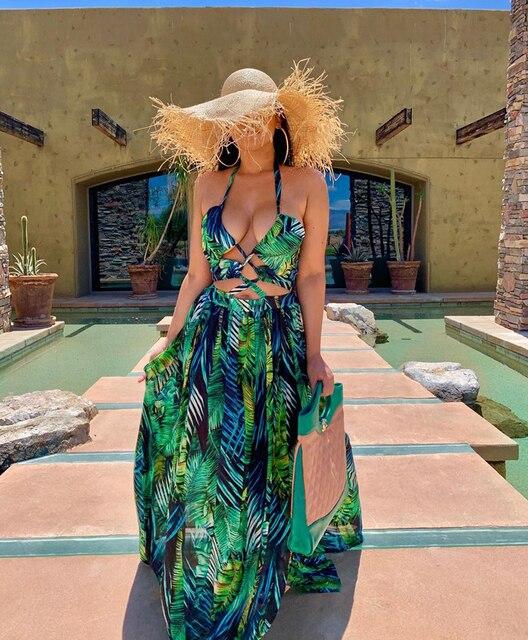 Stigende Women Bohemian Palm Leaf Maxi Dress Sexy High Split Summer Beach Halter Dress Casual Sleeveless Bandage Long Dress S-XL 3