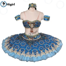 Blue split pirate ballet tutu adult stage costumes nutcracker blue pancake BT9057A