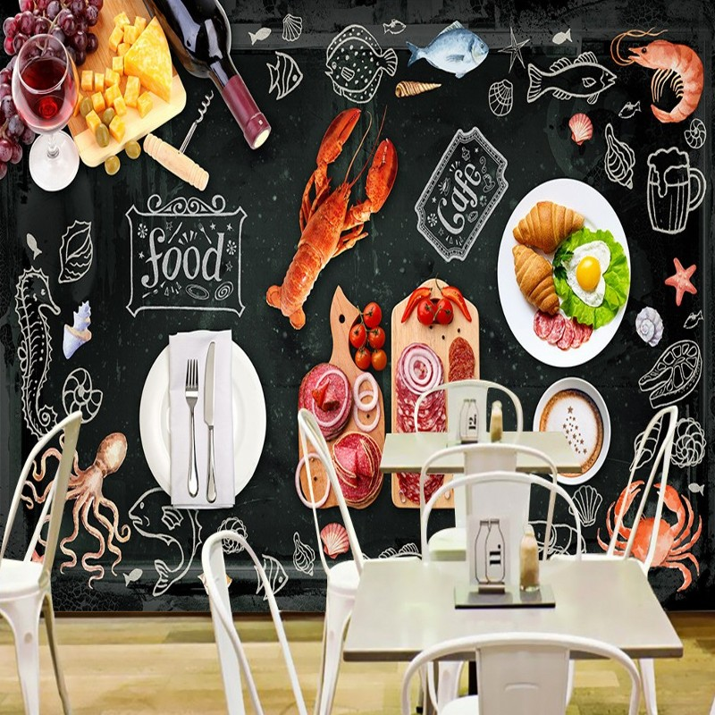 Drop Shipping Custom Photo Wallpaper High Grade   Blackboard Gourmet Backdrop Fast Food Shop Kitchen Wallpaper HD  Mural